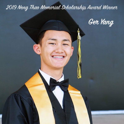 Ger Yang graduation photo in cap and gown